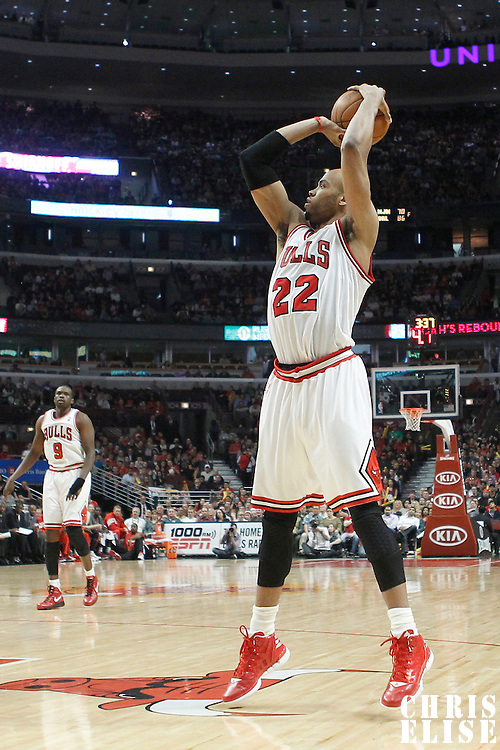 16 March 2012: Chicago Bulls forward Taj Gibson (22) takes a jumpshot during the Portland Trail Blazers 100-89 victory over the Chicago Bulls at the United Center, Chicago, Illinois, USA.