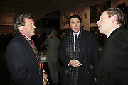 Melvyn Bragg, Bryan Ferry and Michael Bracewell.  Gilbert and George Major Exhibition. Tate Modern. Afterwards dinner at Christchurch Spitafields. London. 13 February 2007.  -DO NOT ARCHIVE-© Copyright Photograph by Dafydd Jones. 248 Clapham Rd. London SW9 0PZ. Tel 0207 820 0771. www.dafjones.com.