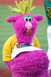 11 August 2012:  The Purple Party Dude dancing during a Frontier League Baseball game between the River City Rascals and the Normal CornBelters at Corn Crib Stadium on the campus of Heartland Community College in Normal Illinois.  The CornBelters take this game in 9 innings 7 - 2 with a 5 run 2nd inning.