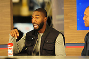 "2/1/13 New Orleans LA.-NFL Super Bowl XLV11 Radio Row at the Media Center Greg Jennings WR with the Packers sports some ""old Spice""  around Radio Row.Photo©Suzi Altman"