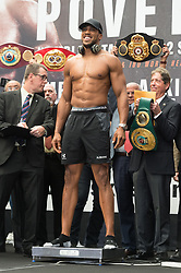 September 21, 2018 - London, London, United Kingdom - British heavyweight professional boxer Anthony Joshua in weigh-in with Russian boxer Alexander Povetkin before their fight with at Wembley stadium. (Credit Image: © Ray Tang/ZUMA Wire)