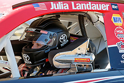 ROSEBURG, OR - AUGUST 27: Julia Landauer driver of the #54 Toyota Racing Toyota sits in her car during practice for the NASCAR K&N Pro Series West Toyota/NAPA Auto Parts 150 at the Douglas County Speedway on August 27, 2016 in Roseburg, Oregon. (Photo by Jason O. Watson/NASCAR via Getty Images) *** Local Caption *** Julia Landauer
