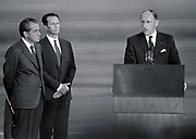 Left to Right: US president Nixon, King Baudouin of Belgium and Secretary General of NATo Joseph Luns at a NATO meeting 1969.