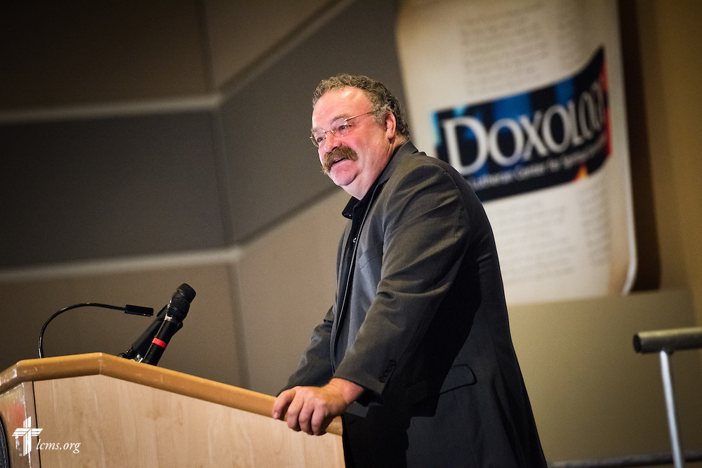 "The Rev. Dr. Matthew C. Harrison, president of The Lutheran Church–Missouri Synod, speaks to participants at the DOXOLOGY event, ""Finding Our Voice,"" on Wednesday, August 12, 2015, at Saint Louis University in Midtown St. Louis. LCMS Communications/Erik M. Lunsford"