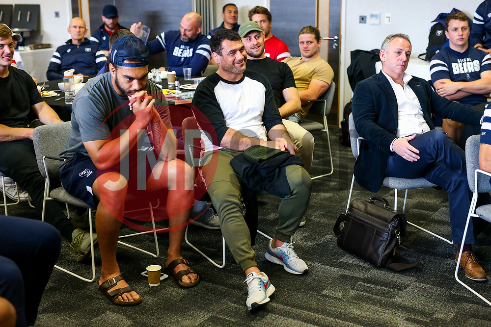 George Smith looks on as the Bristol Bears squad gather to make presentations to departing players after the Bristol Bears Team Run ahead of the Sale Sharks Game - Rogan/JMP - 02/05/2019 - RUGBY UNION - Ashton Gate Stadium - Bristol, England - Bristol Bears v Sale Sharks - Gallagher Premiership Rugby.