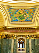 Mosaic of the Lady Liberty. Interior view of the Wisconsin State Capitol Building, Madison, Wisconsin, USA.