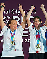 (L) SO Poland athlete Beata Boncol and (R) SO Poland athlete Teresa Cicha while medal ceremony after bowling competition during fifth day of the Special Olympics World Games Los Angeles 2015 on July 29, 2015 at Los Angeles Convention Centre in Los Angeles, USA.<br /> <br /> USA, Los Angeles, July 29, 2015<br /> <br /> Picture also available in RAW (NEF) or TIFF format on special request.<br /> <br /> For editorial use only. Any commercial or promotional use requires permission.<br /> <br /> Adam Nurkiewicz declares that he has no rights to the image of people at the photographs of his authorship.<br /> <br /> Mandatory credit:<br /> Photo by © Adam Nurkiewicz / Mediasport