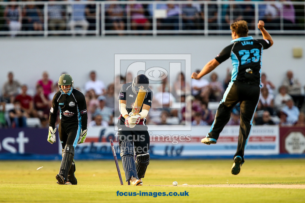 David Willey of Northants Steelbacks (centre) is bowled by Joe Leach of Worcestershire Rapids (right) during the Natwest T20 Blast match at the County Ground, Northampton<br /> Picture by Andy Kearns/Focus Images Ltd 0781 864 4264<br /> 18/07/2014