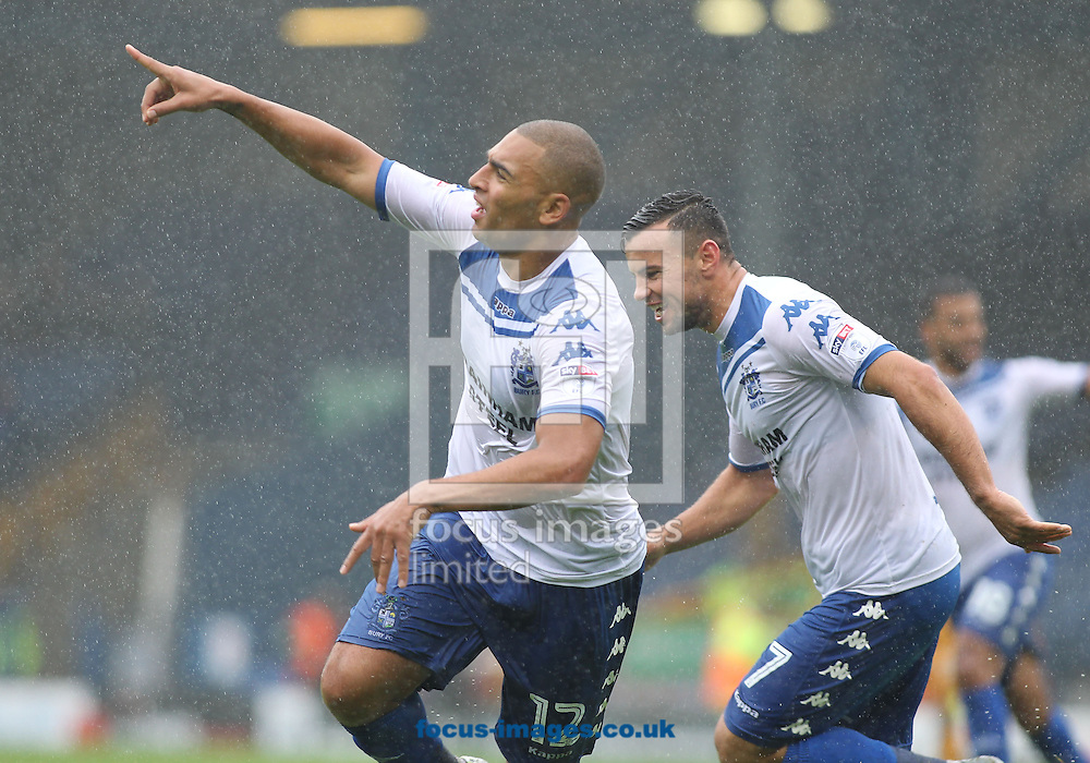 James Vaughan of Bury celebrates scoring the third goal against Port Vale during the Sky Bet League 1 match at Gigg Lane, Bury.<br /> Picture by Michael Sedgwick/Focus Images Ltd +44 7900 363072<br /> 03/09/2016