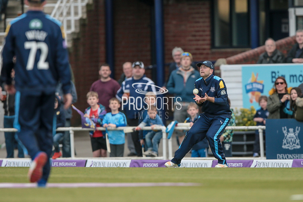R McLaren (Lancashire Lightning) is caught on the boundary rope by Adam Lyth (Yorkshire Vikings) during the Royal London 1 Day Cup match between Yorkshire County Cricket Club and Lancashire County Cricket Club at Headingley Stadium, Headingley, United Kingdom on 1 May 2017. Photo by Mark P Doherty.