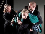 Burning Doors<br /> Belarus Free Theatre at The Soho Theatre, London, Great Britain <br /> press photocall <br /> 1st September 2016 <br /> <br /> Maria Alyokhina<br /> <br /> Pavel Haradnitski, Kiryl Kanstantsinau<br />  <br /> <br /> Photograph by Elliott Franks <br /> Image licensed to Elliott Franks Photography Services