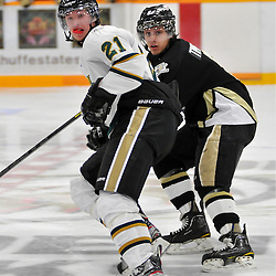 WHITBY, ON - Nov 2: Ontario Junior Hockey League game between Cobourg Cougars and Trenton Golden Hawks. Dalton Bew #21 of the Cobourg Cougars and Josh Timpano #8 of the Trenton Golden Hawks battle for position during first period game action..(Photo by Shawn Muir / OJHL Images)