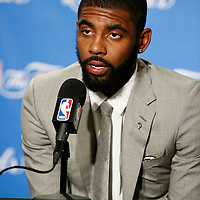 01 June 2017: Cleveland Cavaliers guard Kyrie Irving (2) is seen during a press conference following the Golden State Warriors 113-90 victory over the Cleveland Cavaliers, in game 1 of the 2017 NBA Finals, at the Oracle Arena, Oakland, California, USA.