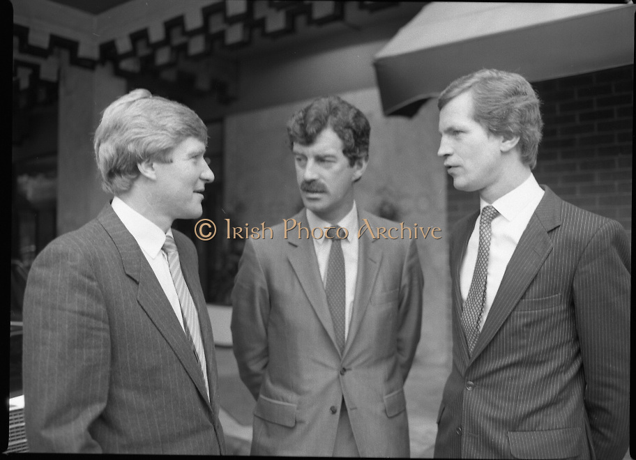 Tanaiste Dick Spring T.D..Speaks at Midsnell Meeting..1984..15.06.1984..06.15.1984..15th June 1984..Tanaiste Dick Spring T.D. spoke today at the European Area Meeting of Midsnell (International Assoc Of Independent Accountancy Firms).The meeting ,held in The Berkeley Court Hotel,Dublin, was hosted by Copsey Murray and Co.Chartered Accountants..Photograph shows (L-R) Mr Roger Copsey,Partner,Copsey Murray and Co.,Tanaiste and Minister for Energy, Mr Dick Spring T.D. and Mr Gerry Murray,Partner,Copsey Murray and Co.