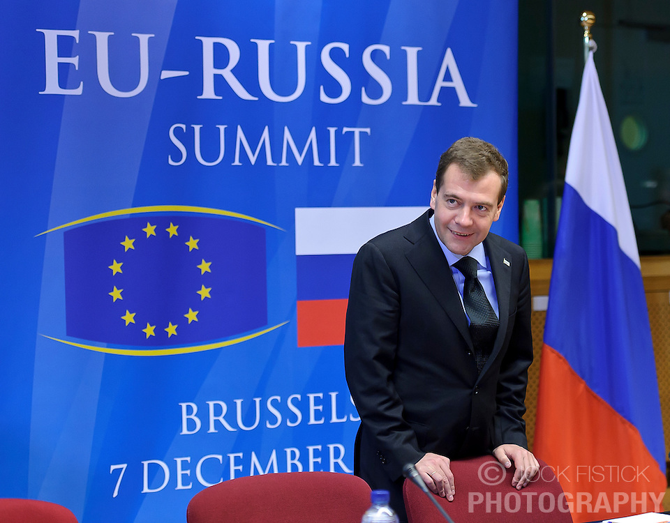 "Dmitry Medvedev, Russia's president, arrives for the EU-Russia summit at the European Union council headquarters in Brussels, Belgium, on Tuesday, Dec. 7, 2010. Russia will move a step closer to membership in the World Trade Organisation today when it signs an agreement with the European Union settling ""key questions"" that have hampered its accession bid for years. (Photo © Jock Fistick).."