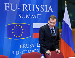"""Dmitry Medvedev, Russia's president, arrives for the EU-Russia summit at the European Union council headquarters in Brussels, Belgium, on Tuesday, Dec. 7, 2010. Russia will move a step closer to membership in the World Trade Organisation today when it signs an agreement with the European Union settling """"key questions"""" that have hampered its accession bid for years. (Photo © Jock Fistick).."""