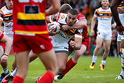 Bradford Bulls prop Liam Kirk (8) is tackled during the Kingstone Press Championship match between Dewsbury Rams and Bradford Bulls at the Tetley's Stadium, Dewsbury, United Kingdom on 4 June 2017. Photo by Simon Davies.