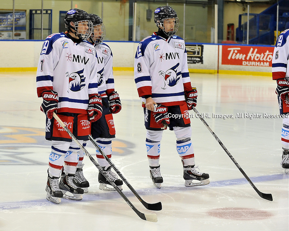 WHITBY, ON - Nov 27: Ontario Junior Hockey League International Exhibition between Whitby Fury and the visiting Adler Mannheim from Germany. Team Adler Mannheim during the pre-game ceremony.<br /> (Photo by Shawn Muir / OJHL Images)