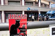 Roma 26 Maggio 2011.Manifestazione di precari, studenti e senza casa davanti alla Gerit Equitalia di viale Palmiro Togliatti, (Agente della Riscossione), con lancio di ortaggi e petardi verso l'edificio della Gerit e le Forze dell'Ordine schierate davanti all'ingresso, per protestare per i pignoramenti per le multe non pagate.<br /> <br /> Rome May 26, 2011. <br /> Demostration of temporary workers, students and homeless in front of the Gerit Equitalia avenue of Togliatti,  to protest foreclosures for unpaid fines,, the Police deployed outside the entrance. The Group carries Equitalia tax collection throughout the country, except Sicily.