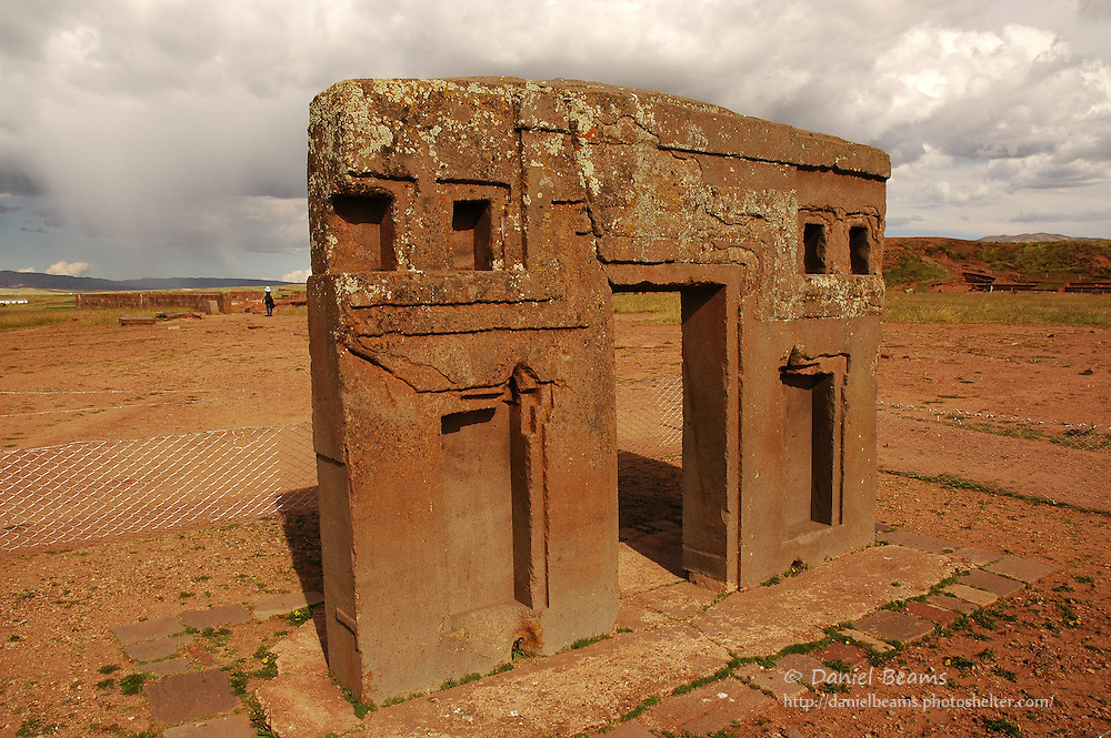 Stone sculpure and architecture at Tihuanacu, La Paz, Bolivia
