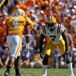 Oct 2, 2010; Baton Rouge, LA, USA; LSU Tigers cornerback Patrick Peterson (7) covers Tennessee Volunteers wide receiver Gerald Jones (4) during the first half at Tiger Stadium.  Mandatory Credit: Derick E. Hingle