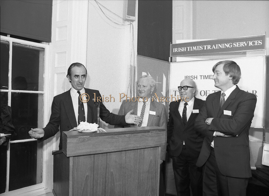 Typist Of The Year.1983.17.11.1983.11.17.1983.17th november 1983..Ms Paula Sommers won the award of Typist Of The Year which was jointly sponsored by The Irish Times and B & I Lines..Photo of Mr David Dillon,Corporate Planner I.D.L.Group,addressing the assembled audience.Included are Mr Eddie Kelly,Dept of Education,Mr Peter Coffey,B&I Lines and Mr Des Bury,Irish Times.