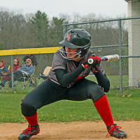 Maple Grove's Cayleigh Swanson ducks under a high pitch against Jamestown during fourth inning action 5-10-16 photo bby Mark l. Anderson