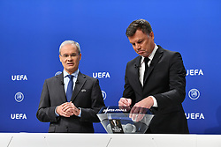NYON, SWITZERLAND - Friday, July 10, 2020: UEFA Deputy General Secretary Giorgio Marchetti (L) and former Bayern Munich player Thomas Helmer during the UEFA Champions League and UEFA Europa League 2019/20 draws for the Quarter-final, Semi-final and Final at the UEFA headquarters, The House of European Football. (Photo Handout/UEFA)