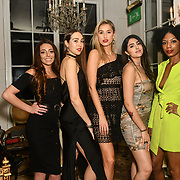 Lois Bowden, Chloe Adlerstein, Lilly Douse, Claudia Sowaha and Tonique Campbell is a contestant attend The Bachelor UK 2019 launch night - The girls private screening on Channel 5 at Beach Blanket Babylon on 4 March 2019, London, UK