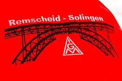 """03.05.2016, Clemensgalerien, Muehlenplatz, Solingen, GER, Warnstreik IG Metall, im Bild Gesticktes Logo der IG Metall Solingen-Remscheid auf dem Ruecken einer Jacke // during a Emptive strike of the trade union """"IG Metall"""" at the Clemensgalerien, Muehlenplatz in Solingen, Germany on 2016/05/03. EXPA Pictures © 2016, PhotoCredit: EXPA/ Eibner-Pressefoto/ Deutzmann<br /> <br /> *****ATTENTION - OUT of GER*****"""