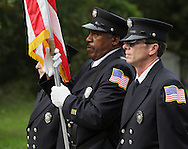 Salisbury Mills, New York - A fire department color guard marches down Route 94 during the Orange County Volunteer Firemen's Association (OCVFA) annual parade on Sept. 24, 2011.