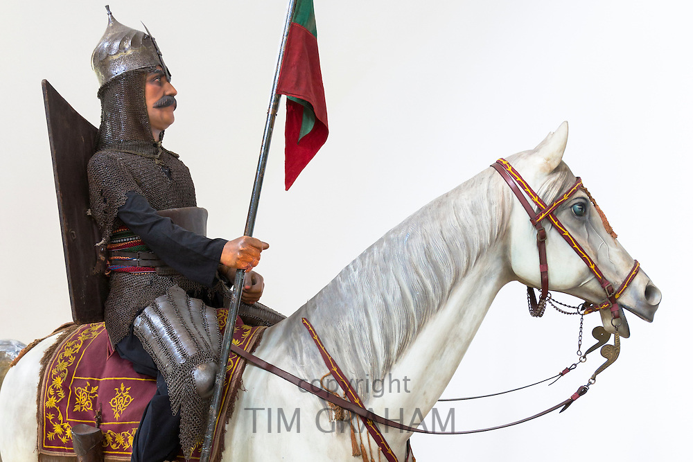 Ottoman historical armoured cavalryman exhibit at the Military Museum at Harbiye in Istanbul, Turkey
