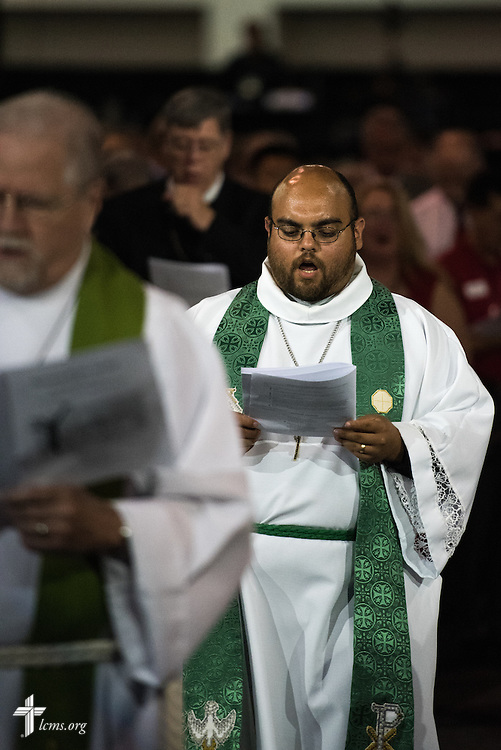 The Rev. Christopher Amen, pastor of St. Peters Lutheran Church in Arlington, Wis., processes during the Opening Divine Service of the 66th Regular Convention of The Lutheran Church–Missouri Synod on Saturday, July 9, 2016, at the Wisconsin Center in Milwaukee. LCMS/Michael Schuermann