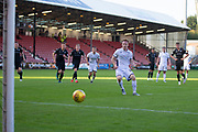 2nd Aug 2019, East End Park, Dunfermline, Fife, Scotland, Scottish Championship football, Dunfermline Athletic versus Dundee;  Danny Johnson of Dundee scores a penalty kick for 2-1 in the 45th minute