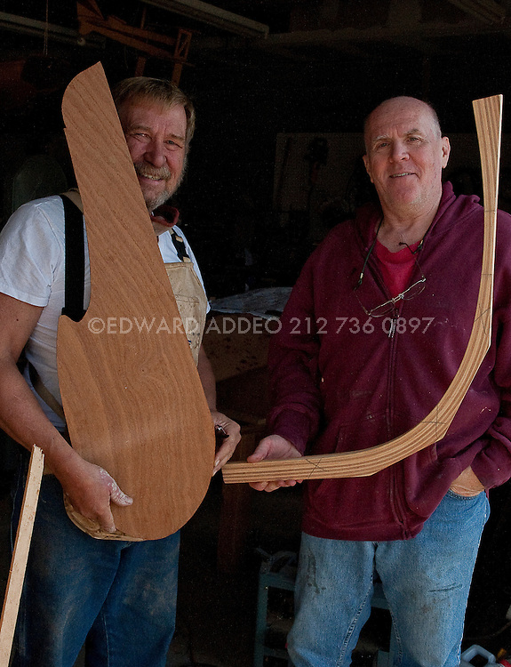 David Heim Boat Builder. Using the finest mahogany woods and hand tools David Heim creates a beautiful &quot;Nutshell Pram&quot;<br /> Tender