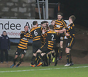 Ben Gordon (centre) is mobbed by team-mates after scoring Alloa Athletic's 93rd minute equaliser - Dundee v Alloa Athletic, SPFL Championship at Dens Park<br /> <br />  - &copy; David Young - www.davidyoungphoto.co.uk - email: davidyoungphoto@gmail.com
