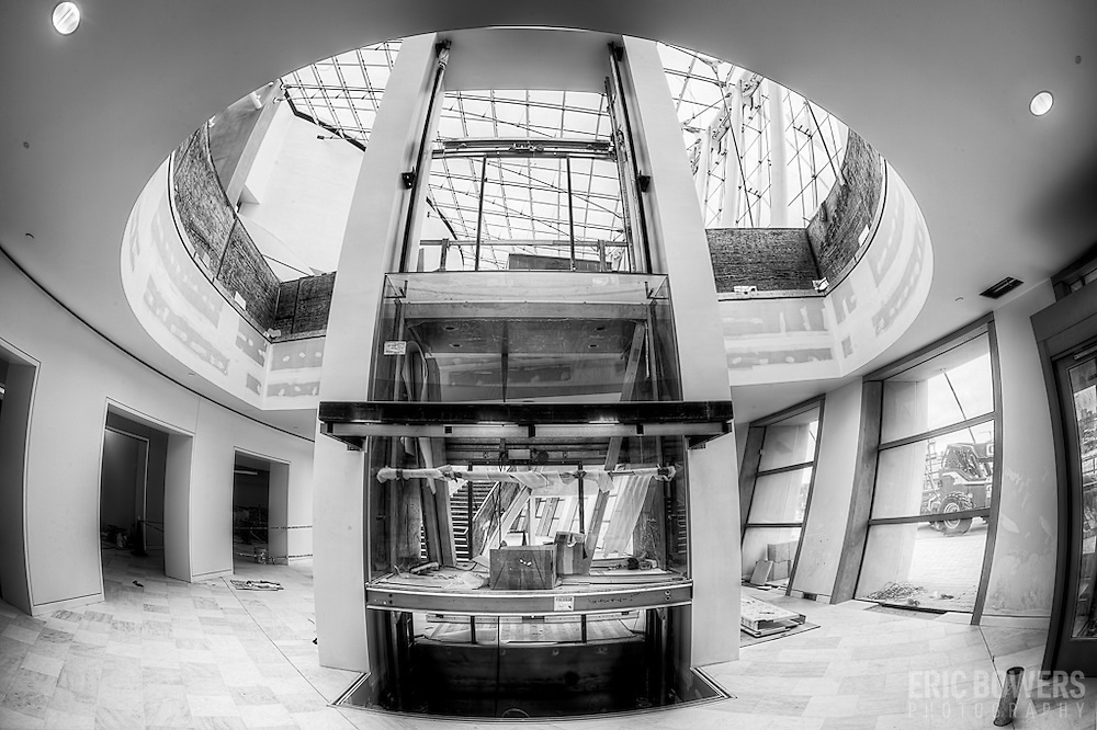 One of the elevators in the Kauffman Center for the Performing Arts during construction - April 19, 2011.