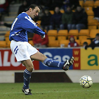 St Johnstone v Brechin...28.01.06.<br />Paul Sheerin fires home the third goal<br /><br />Picture by Graeme Hart.<br />Copyright Perthshire Picture Agency<br />Tel: 01738 623350  Mobile: 07990 594431