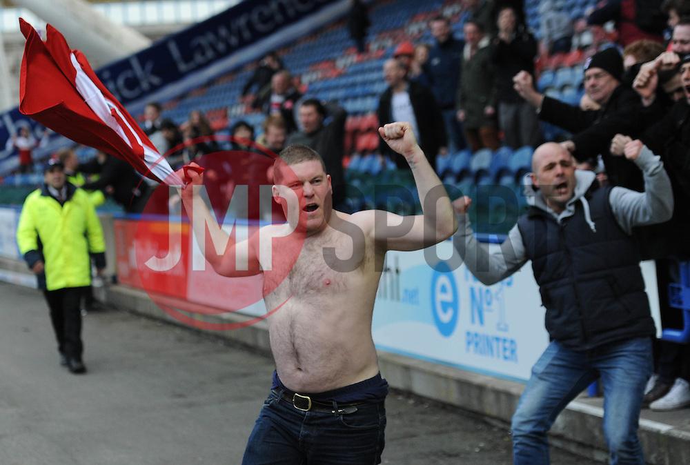 Fulham fans celebrate their second goal - Photo mandatory by-line: Richard Martin-Roberts/JMP - Mobile: 07966 386802 - 21/03/2014 - SPORT - Football - Huddersfield - John Smith's Stadium - Huddersfield Town v Fulham - Sky Bet Championship