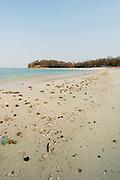 Stony beach in Contadora island shore. Las Perlas archipelago, Panama province, Central America.