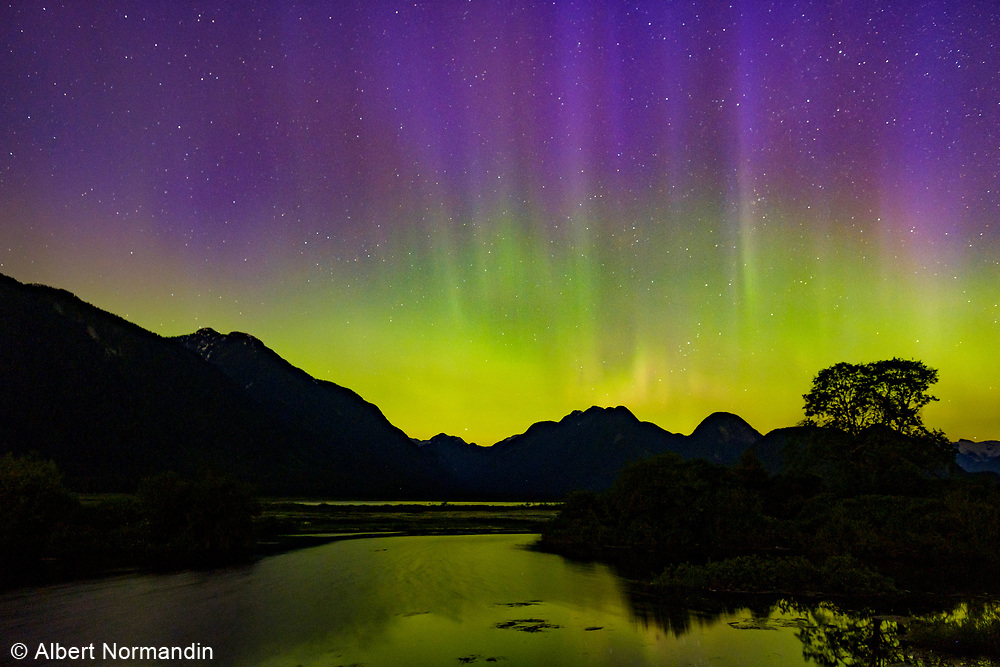 Aurora borealis and Northern skies, Pitt Lake British Columbia