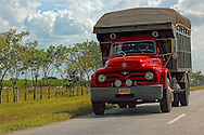 Red truck near Gaspar, Ciego de Avila, Cuba.