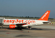 Easy Jet aeroplane on a runway at Barcelona Airport. Barcelona. Spain 2013