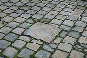 Paving stones with 'pave a fendre', at 52 Rue de l'Arbre Sec, in the 1st arrondissement of Paris, France. The pave a fendre or cracked paver, is a paving stone larger than the surrounding ones, used to split the logs which were delivered in the streets for fuel for houses. People split the long logs outside on these larger stones to avoid damaging the cobblestones. This practice was in place from the 17th century. Picture by Manuel Cohen