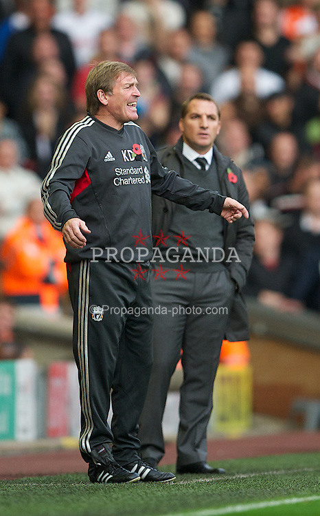 LIVERPOOL, ENGLAND - Saturday, November 5, 2011: Liverpool's manager Kenny Dalglish and Swansea City's manager Brendon Rodgers during the Premiership match at Anfield. (Pic by David Rawcliffe/Propaganda)