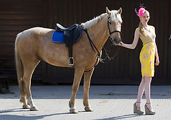 14/05/2013 Model Clara McSweeney showcases the latest Ladies Day Racing Wear looks from labels for less retailer TK Maxx in The Paddocks, Sandymount. A recent survey revealed that entrants of Ladies Day events have increased their average outfit spend since last year by 45%. TK Maxx have a stunning selection of dresses available from as little as ?34.99 with up to 60% off the RRP. For more information, visit www.tkmaxx.ie  or find them on Facebook. Picture Andres Poveda