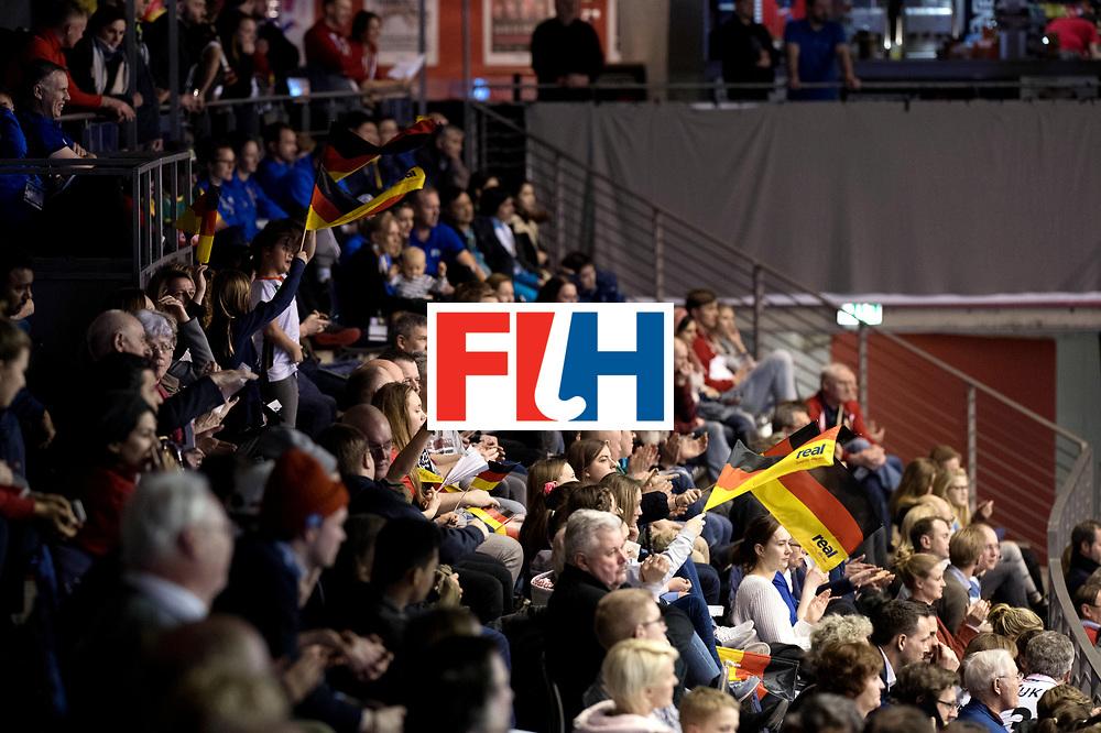 BERLIN - Indoor Hockey World Cup<br /> Men: Germany - Australia<br /> foto: German fans.<br /> WORLDSPORTPICS COPYRIGHT FRANK UIJLENBROEK