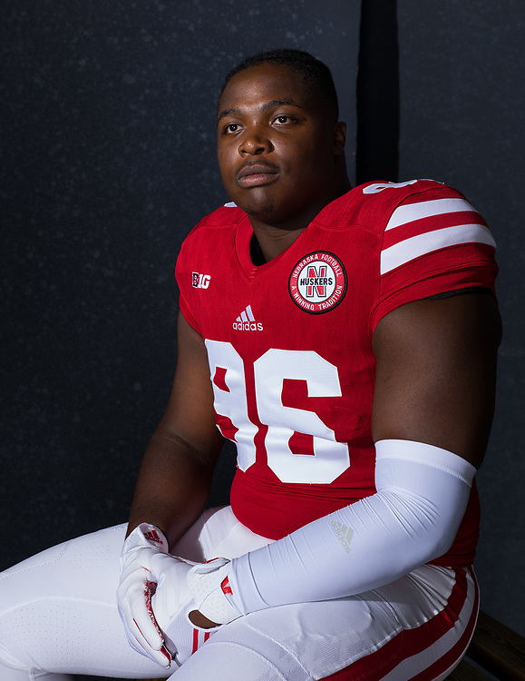 CARLOS DAVIS #96, during a portrait session at Memorial Stadium in Lincoln, Neb. on June 7, 2017. Photo by Paul Bellinger, Hail Varsity