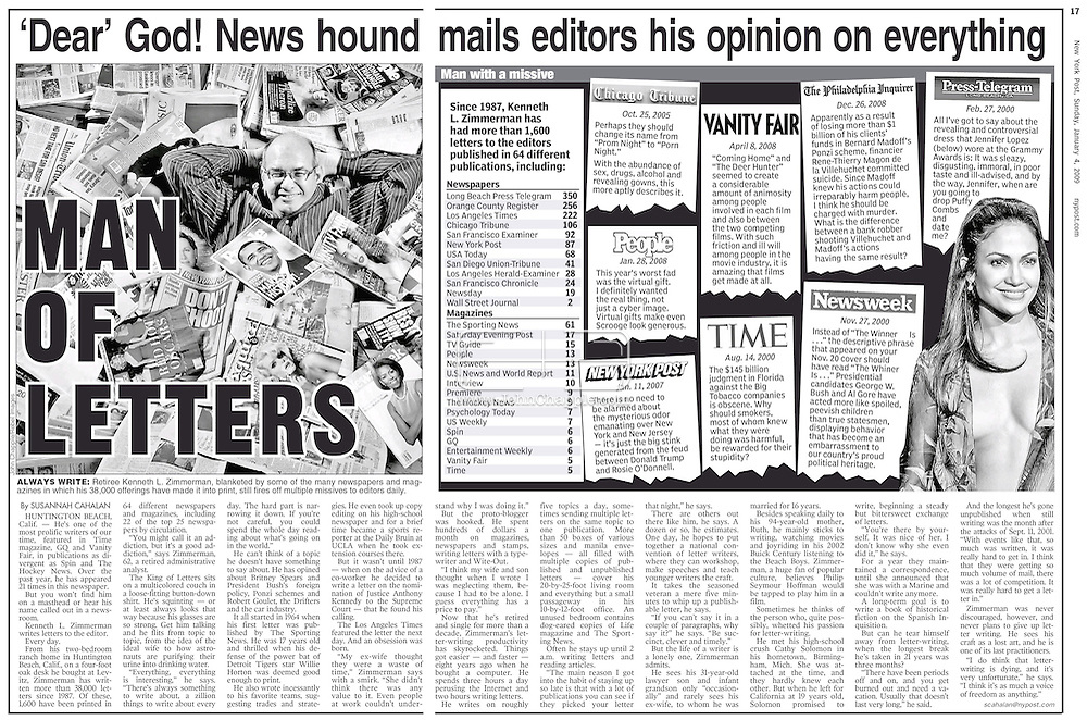 New York Post. 4th January 2009. Page 16 & 17..2nd December 2008. Huntington Beach, California. 61-year-old Kenneth L. Zimmerman who has had over 1,600 letters published in newspapers and magazines. .PHOTO © JOHN CHAPPLE / REBEL IMAGES..(001) 310 570 9100   john@chapple.biz   www.chapple.biz
