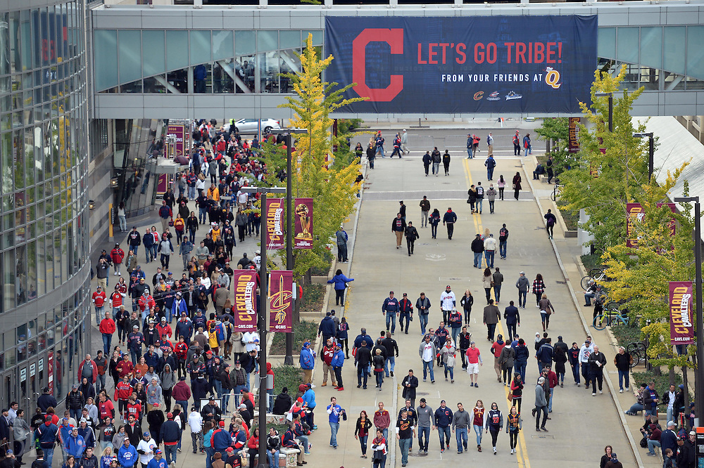 Oct 25, 2016; Cleveland, OH, USA; A general view of baseball and basketball fans outside before game one of the 2016 World Series between the Chicago Cubs and the Cleveland Indians at Progressive Field. Mandatory Credit: Ken Blaze-USA TODAY Sports